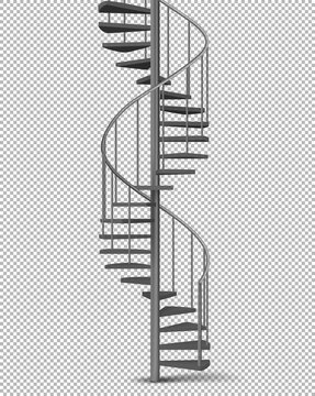 Metal spiral, helical staircase on pillar with tube railings and wooden stairs 3d realistic vector illustration isolated on transparent background. House interior, building exterior design element