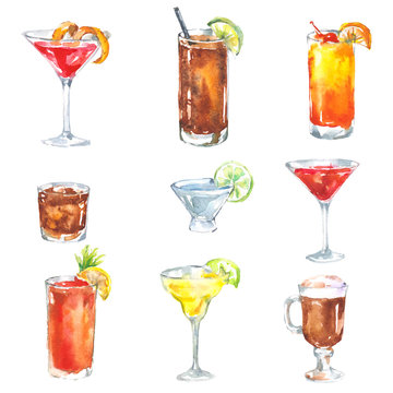 Alcohol drinks cocktail set watercolor illustration isolated on white background