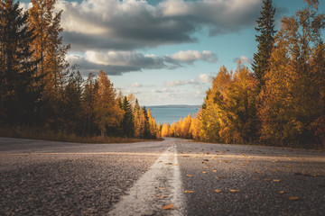 Printed kitchen splashbacks Autumn Autumn road view from Sotkamo, Finland.