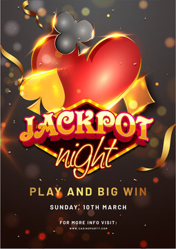 Jackpot Night template or flyer design with spade, heart, diamond and club symbols on black bokeh background.