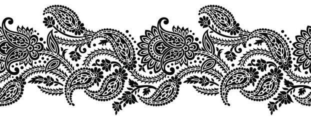 Seamless black and white vintage paisley border