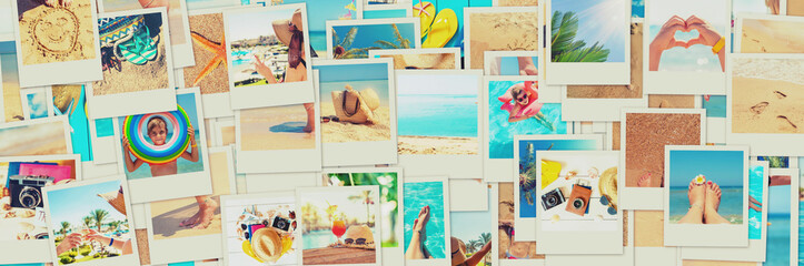 Travel concept collage. Sea vacation. Selective focus.