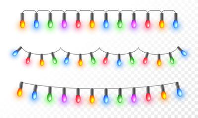 Colorful illuminated lighting garlands on png background for festival celebration concept. Fototapete