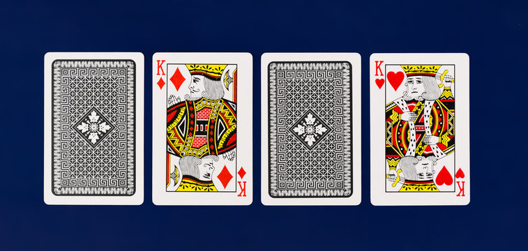 King Playing Cards full deck on plain background for casino poker mockup top view