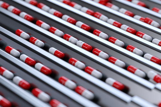 Pharmaceutical Medicine Tablet Pill Production Line. 3d Illustration.