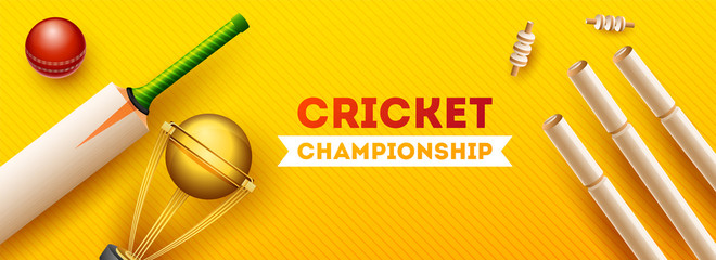 Top view of cricket equipments such as golden trophy, wicket stump, bat and ball on yellow strip background, Cricket Championship header or banner design.