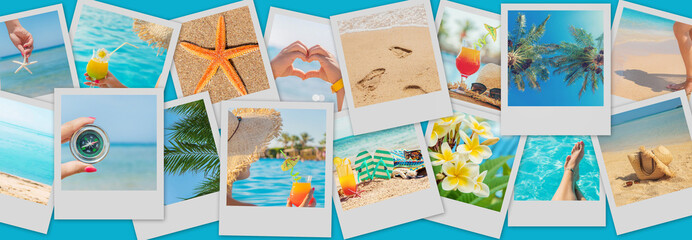Travel concept collage. Sea vacation. Selective focus. Wall mural