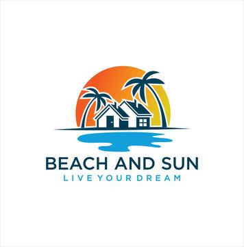marine property Logo Design Illustration . Beach House Logo Design, Beach Real Estate Logo, Beach Resort, Village Logo, Beach Hotel