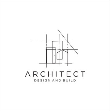 Architect house logo, architectural and construction design vector . abstract . Renovation Logo . Building Architect logo . Architectural, construction, home and property design vector