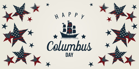 Columbus day card. vector illustration.