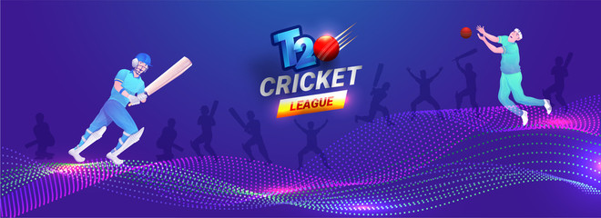 Cricket player in different pose on abstract purple background header banner or poster design for T20 Cricket League.