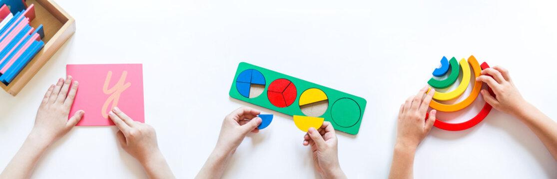 Montessori material. Children's hands. The study of mathematics and biology.Benner
