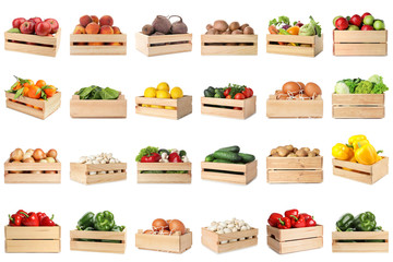 Foto op Plexiglas Keuken Set of wooden crates with different fruits, vegetables and eggs on white background