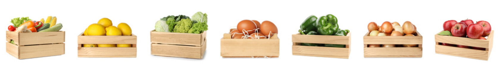Foto op Canvas Keuken Set of wooden crates with fruits, vegetables and eggs on white background