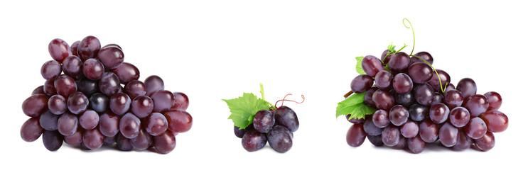 Fototapete - Set of fresh juicy grapes on white background