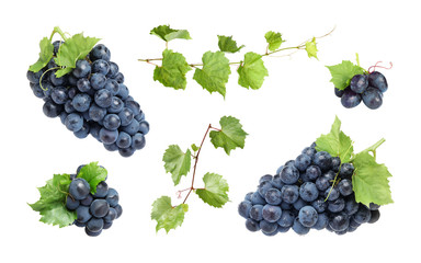 Set of fresh juicy grapes and leaves on white background Fototapete