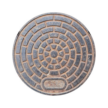 Rusty manhole cap, grunge manhole cover, round, isolated on white background with clipping path.