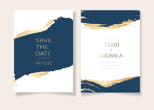 invitation cards with luxurious gold and dark blue marble background texture and abstract ocean style vector template for wedding, new year, events.