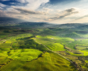 Spring flight over the perfect landscape in Tuscany.