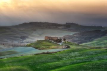 Spring undulating fields in Tuscany.