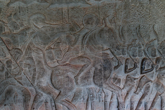 Bas reliefs in Angkor Wat one of the 7 wonders of the world, Siem Reap, Cambodia