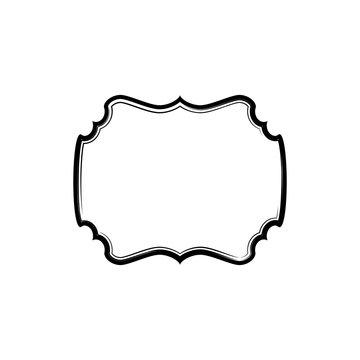 Minimal elegant border vector template. Creative vintage empty decorative frame isolated clipart on white background. Ornate rectangle shape vignette, blank label simple design element