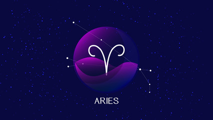 Aries sign, zodiac background. Beautiful and simple illustration of night, starry sky with aries zodiac constellation behind glass sphere with encapsulated aries sign and constellation name.