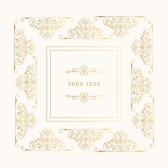 Elegant golden frame with filigree design elements. Vintage wedding borders. Vector isolated illustration.