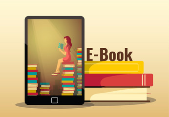 Poster design for bookstore, book lovers, e-book reader. Electronic reader and pile of books. Vector illustration for poster, banner, brochure, cover.