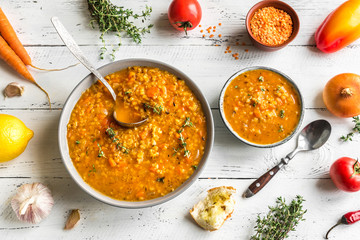 Fotobehang - Lentil and vegetable soup