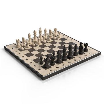 Tabuleiro de Jogo de Xadrez 3d Render isolado fundo branco vista de perspectiva