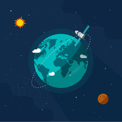 Earth in outer space vector illustration, flat cartoon satellite space ship flying around planet world on solar system universe, moon, stars, orbit station flight in cosmos or universe image