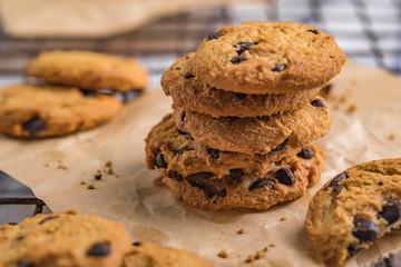 Fotobehang Koekjes cookies with chocolate and nuts