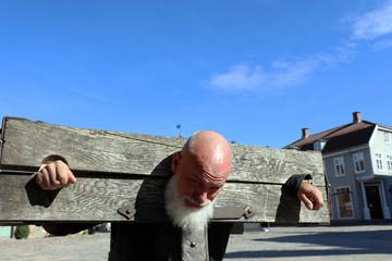 Man in pillory, Fredrikstad, Norway