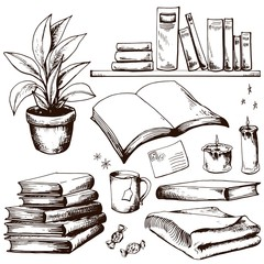 Books collection. Hand drawn vector illustration. Sketched clip art.