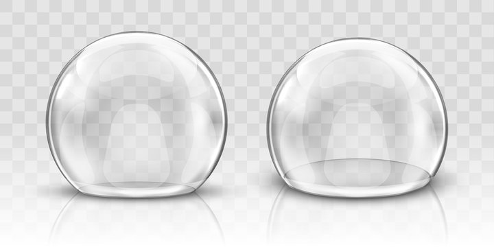 Glass dome or sphere realistic vector. Glass round dome, empty crystal globe, transparent food storage container or product presentation case with reflection, illustration isolated on background