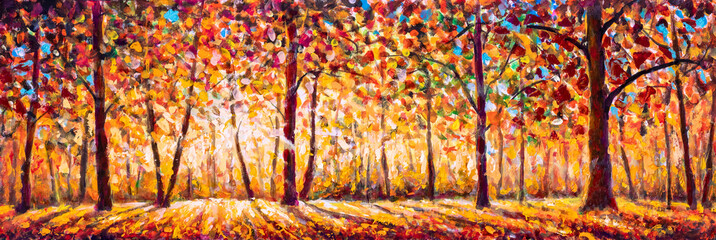 Autumn  panorama Original oil painting on canvassunny park with red golden trees and meadow , natural seasonal background Original oil painting on canvas