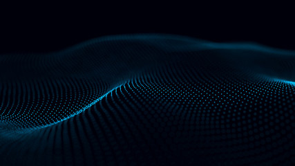 Futuristic background of points and lines with a dynamic wave. Big data. Abstract background 3d rendering. 4k.