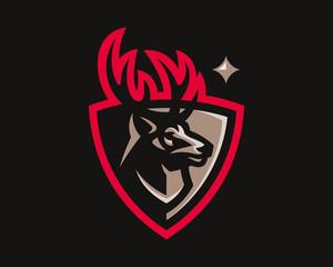 Deer modern logo. Reindeer design emblem template for a sport and eSport team.