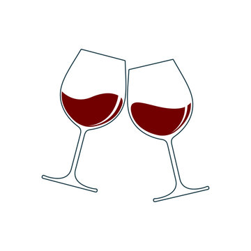 Clink glasses graphic icon. Cheers with two wineglasses with wine sign isolated on white background. Vector illustration