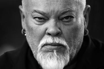 Sami man, actor, closeup, black & white