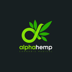 logo alpha hemp, with symbolic infinity and cannabis  vector
