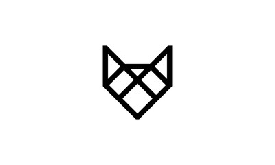 Simple line drawing vector for fox head logo design concept