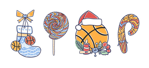 Collection of decorative Christmas illustration for basketball. Hand drawing pictures for greeting cards, sports posters.