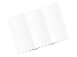 Blank tri fold brochure mockup top view isolated on white background. Vector illustration