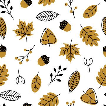 Vector seamless pattern with doodle leaves, acorns. Modern autumn seasonal decor. Flower graphic design