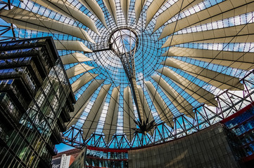 Berlin, Germany - June 7, 2019: Interior of Sony Center's modernist-style shopping center