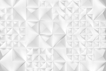3d gray white blurred mosaic texture background consisting of randomly arranged multidirectional pyramids . Geometric 3D illustration background or substrate for graphic design