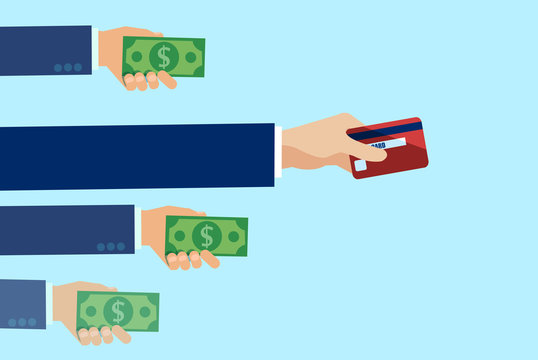 Vector of people making payment with cash and most popular method by credit card.