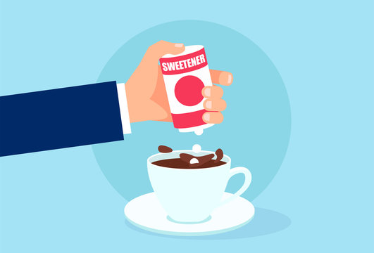 Vector of a hand with box sweetener adding tablets to cup of coffee